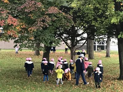 園児枯葉遊び